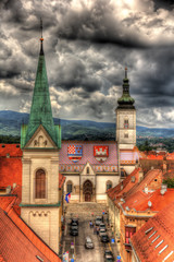 View of St. Mark's Church in Zagreb, Croatia