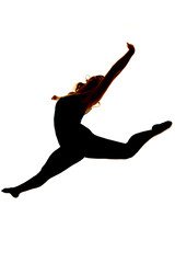 silhouette of woman dancing jump