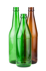 Brown and green empty bottles