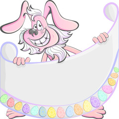 Vector Cartoon Pink Easter Rabbit Happy holding a poster with th