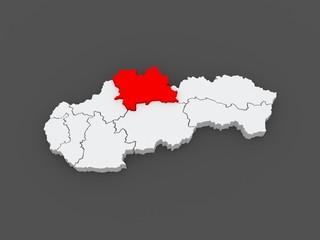 Map of Zilina. Slovakia.