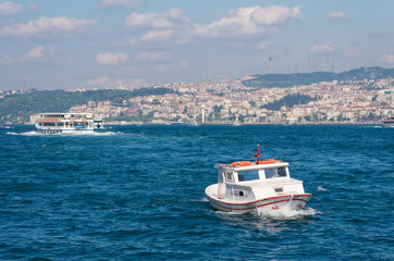 boat on golden horn in Istanbul