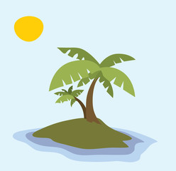 Little Island, Palm Trees, Tropical Summer (vector Art)