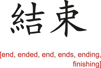 Chinese Sign for end, ended, end, ends, ending, finishing