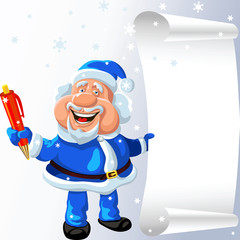 vector Santa Claus with a pen and a scroll in his hands