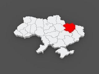 Map of Kharkov region. Ukraine.