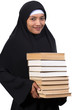 a young woman carries a books
