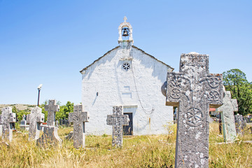old Church with stone crosses om the 17th century