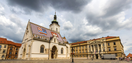St. Mark's Church and Croatian Parliament in Zagreb