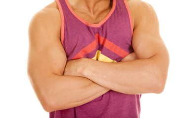 man purple tank top arms folded body close