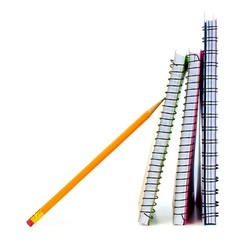 Standing school notebooks with pencil