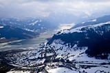 Unique airplane aerial view of central Swiss Alps. poster