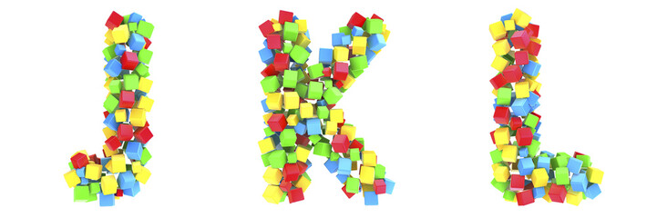 3D cube alphabet colorful font style