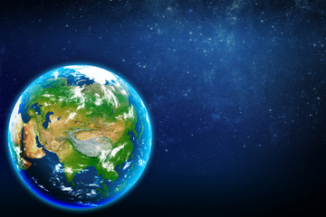Planet earth in space. Eurasian continent