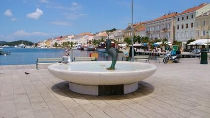 Town square of Mali Losinj, Island Losinj, Croatia.