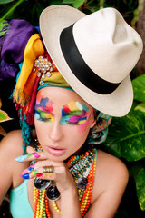 beautiful, lush makeup on beautiful girl hat