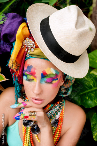 canvas print picture beautiful, lush makeup on beautiful girl hat