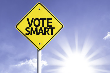 Vote Smart road sign with sun background