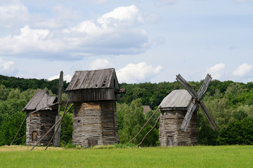 Three traditional old Ukrainian rural wind turbines ,Pirogovo