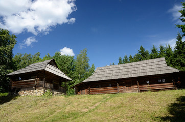 Old wooden houses from Carpathian mountains,Pirogovo