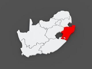 Map of KwaZulu-Natal (Pietermaritzburg). South Africa.