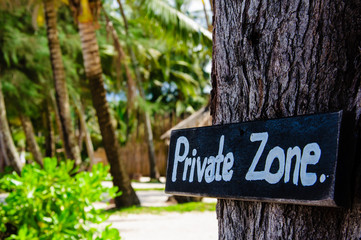 Private zone sign