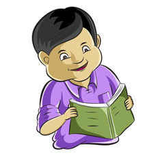 Portrait of diligent student studying a book  Cartoon vector
