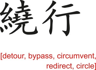 Chinese Sign for detour, bypass, circumvent, redirect, circle