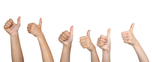 People show thumbs up on grey background