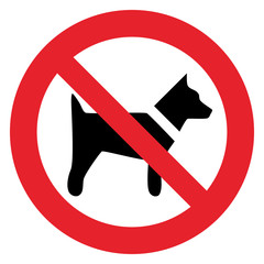 Prohibition sign FORBID DOG AREA