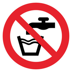 Prohibition sign NO POTABLE WATER