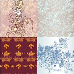 Set of vector seamless wallpaper patterns for design