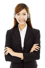 professional business woman with headphone and across arms