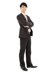young businessman standing and across hands . isolated on white