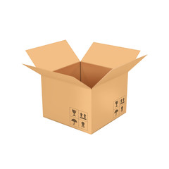 Open empty cardboard box 3d illustration, isolated on white back