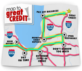 Map to Great Credit Score Rating Payment History Borrow Loan Mon