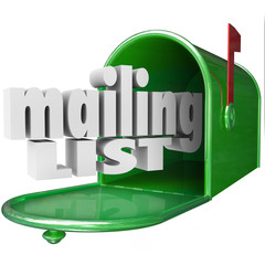 Mailing List Words Mailbox Direct Mail Marketing Database