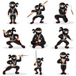 Ninja kids in different poses