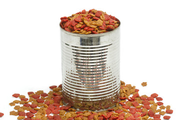 Dried dog food in metal can,pet food