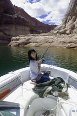girl fishing at lake powell