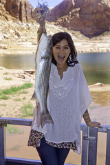 girl fishing at lake powell