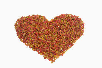 Dried food for dog/cat as a shape of heart