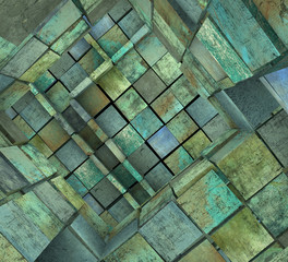 3d fragmented tiled mosaic labyrinth in blue green