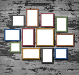 picture frames on wood wall
