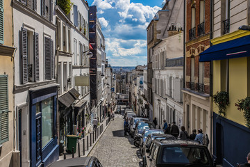 Montmartre area in Paris , France