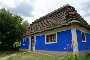 Traditional old clay Ukrainian rural house - homestead,Kiev