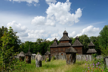 Resurrection wooden church with apiary from Poltavshina region