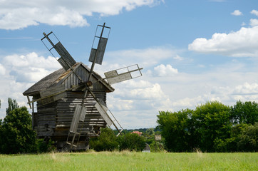 Traditional old Ukrainian rural windmill ,Pirogovo,Europe