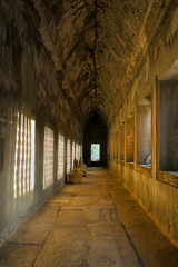 Angkor wat: Sunlight through the window effected on the wall