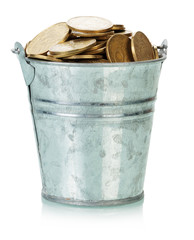 Ukrainian coins in bucket